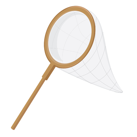 entomologist: Fish scoop, weep  net, fishing net, butterfly net with wooden handle Stock Photo