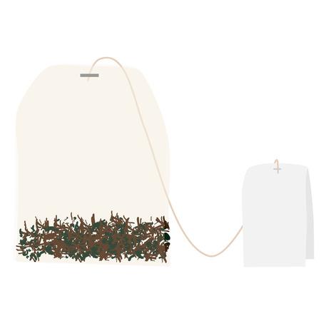 tea bag: Tea bag isolated on white raster, beverage Stock Photo