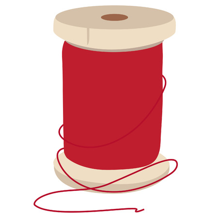 Spool of red thread for sewing raster illustration. Thread spool. Reel of thread