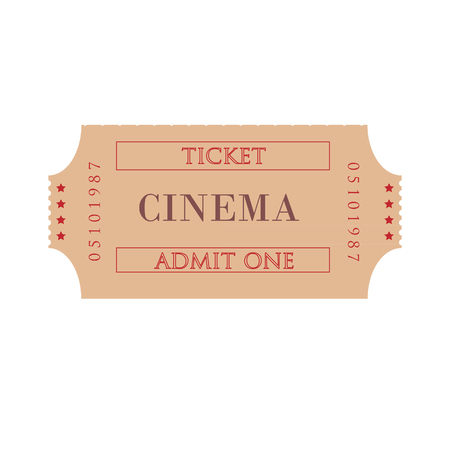 cinema ticket: Cinema ticket raster isolated, admit one, movie ticket