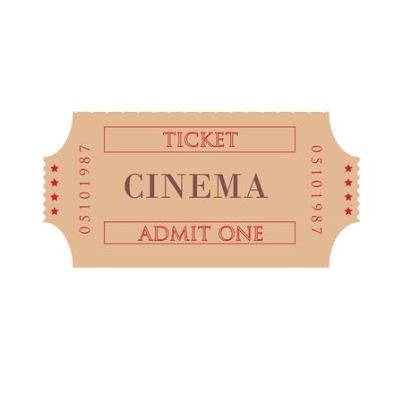 admit: Cinema ticket raster isolated, admit one, movie ticket