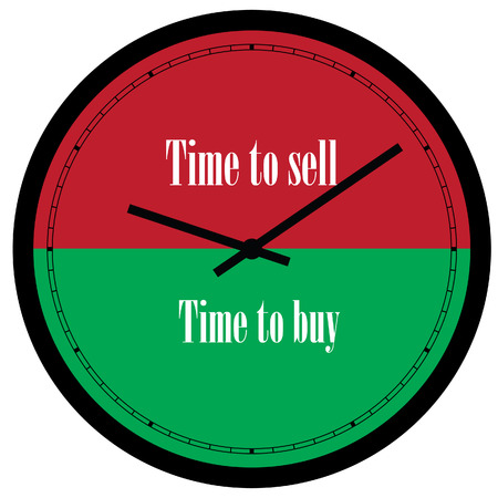 energize: raster illustration of wall clock with text time to buy and time to sell on its dial.