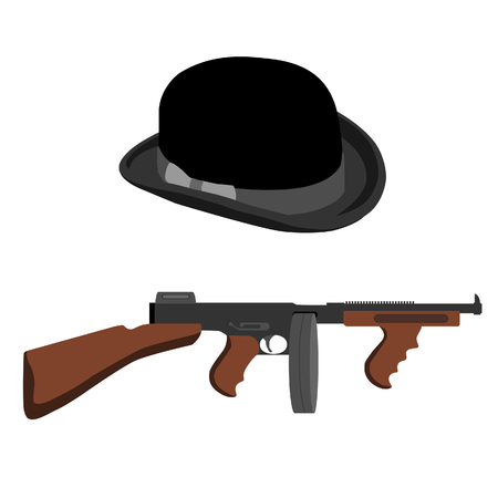 Automatic weapon tommy gun and black bowler hat.Thompson submachine gun raster isolated.
