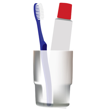 tidiness: Toothbrushe raster, toothpaste, toiletries,blue toothbrush, grey glass