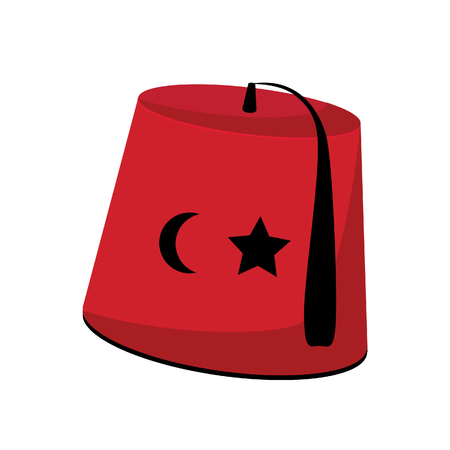 red hat: Turkish red hat with star and crescent fez raster isolated
