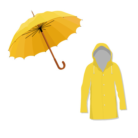 rain coat: Waterproof yellow raincoat and opened umbrella raster illustration