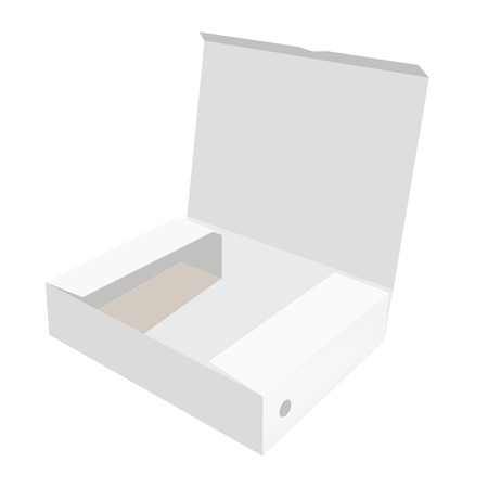 software box: White box, cardboard box, software box, carton box, opened box Stock Photo