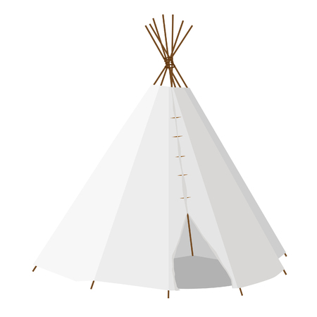 indian village: Wigwam raster isolated on white, teepee, native american