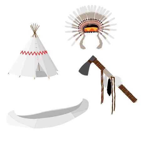wigwam: Native american raster icon set with tomahawk, canoe, wigwam, feather headdress, white