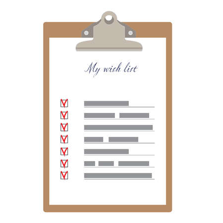 wish list: Brown clipboard and my wish list with check boxes raster illustration. Survey icon, checklist icon