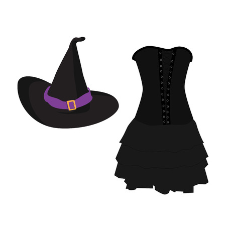 buckle: raster illustration of a cartoon black witch hat with purple ribbon and buckle. Black gothic witch dress. Halloween costume witch