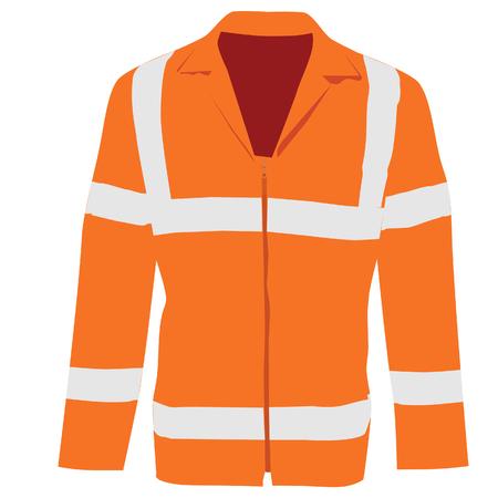protective clothing: Orange safety jacket. Worker clothing. Safety clothing. Protective worker jacket with reflective stripes