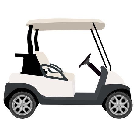raster illustration of white golf cart. Golf car
