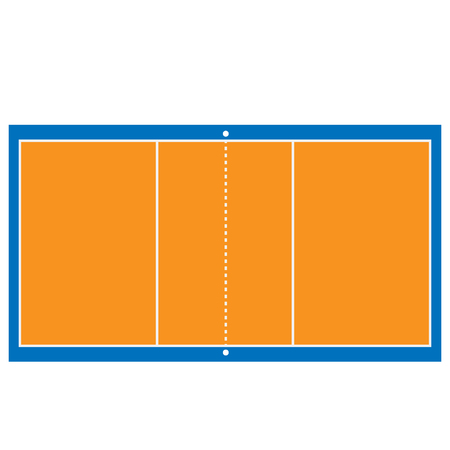 indoor court: Indoor orange and blue volleyball court raster isolated
