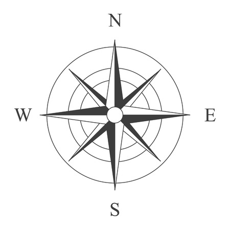 Vector illustration black wind rose isolated on white. Compass rose icon