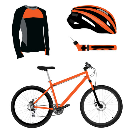 bicycle pump: Orange bicycle, helmet, pump and shirt vector icon set. Sport equipment. Sports uniform or biking clothes Illustration