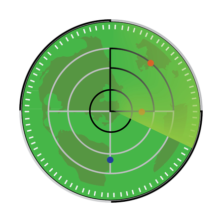 radar: Vector illustration of green radar screen. Radar icon