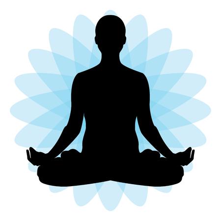 man meditating: Vector illustration the sign of a man or woman meditating. Practicing yoga. Yoga lotus pose, women wellness concept