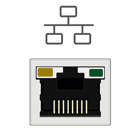 network port: Vector illustration realistic network ethernet port and network symbol. Network router or switch icon. Illustration
