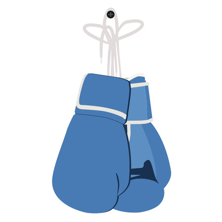 hand glove: Vector illustration pair of blue boxing gloves hanging on nail. Sport equipment Illustration