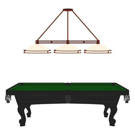 pool hall: Vector illustration retro, vintage pool table with green cloth and lamp with three shades. Empty billiard table