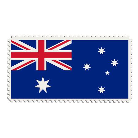 poststempel: Vektor-Illustration Flagge von Australien auf Briefmarke. Australische Flagge auf Briefmarke
