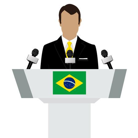 tribune: Vector illustration presentation conference concept. Speaker, man in suit speaking from tribune. Brazil, brazilian flag on podium tribune