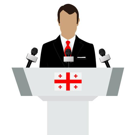 Vector illustration presentation conference concept. Speaker, man in suit speaking from tribune. Georgia, georgian flag on podium tribune