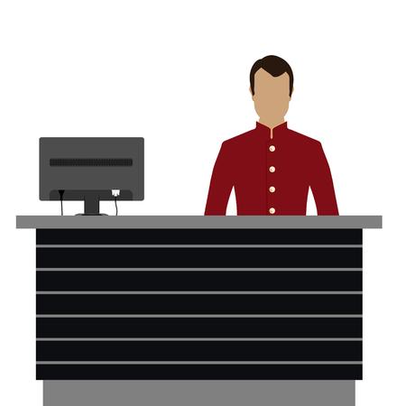recepcionista: Ilustración vectorial feliz recepcionista masculino de pie en el hotel. Conserjería profesional en el mostrador de recepción del hotel