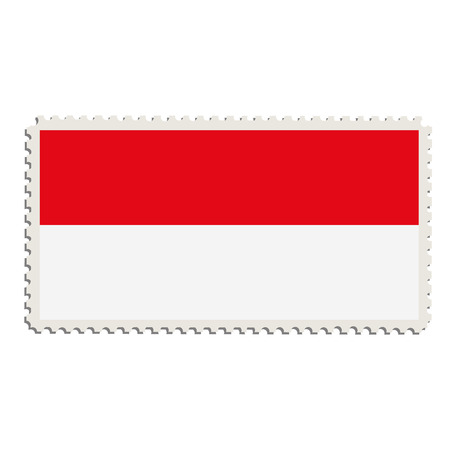 the indonesian flag: Vector illustration flag of Indonesia on postage stamp.  Indonesian  flag on post stamp Illustration