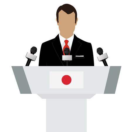 declare: Vector illustration presentation conference concept. Speaker, man in suit speaking from tribune. Japan, Japanese flag on podium tribune