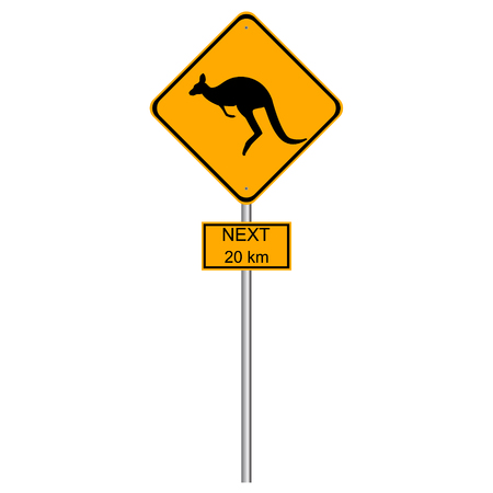 Vector illustration roadsign kangaroos next 20 km. Yellow kangaroo roadsign with next 20 km additional table Ilustracja