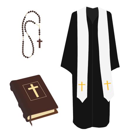 predicador: ilustraci�n vectorial rezo sacerdote de la iglesia pastor o predicador disfraz. Cerrados color azul Santa Biblia y las cuentas del rosario con el vector de cruz aislada Vectores
