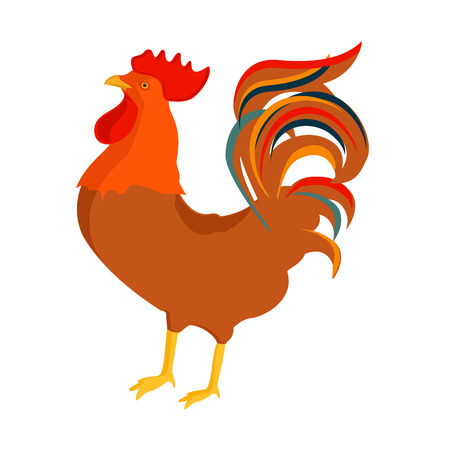 Vector illustration cock,rooster isolated on white. Cute cartoon rooster icon. Poultry farming