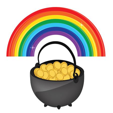 arcoiris caricatura: Ilustración del vector del icono de olla de oro arco iris. tesoro de duende mágico con el arco iris