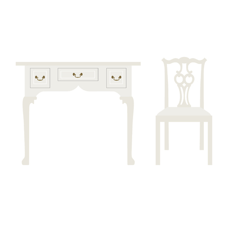 console table: Vector illustration vintage luxury white table and chair. Retro furniture. Console table