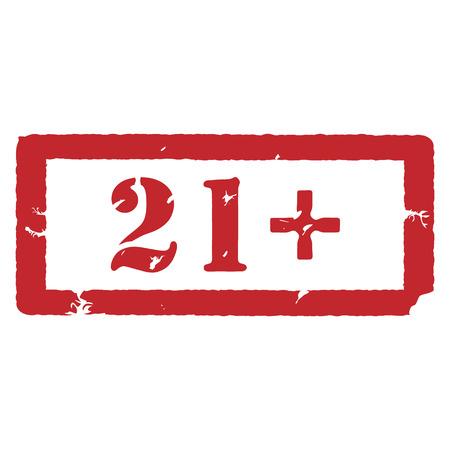 adults only: Vector illustration rectangle red under 21 twenty one stop sign. 21+ age restriction stamp Illustration