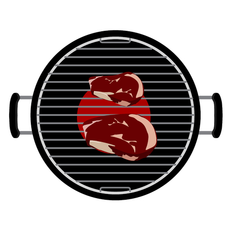 charcoal grill: Vector illustation charcoal barbecue grill top view. bbq and grilled beef steak meat on it