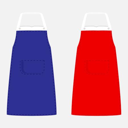 mandil: ilustración vectorial de color azul y delantales de la cocina con el bolsillo. diseño del delantal de cocina aislado en el fondo gris