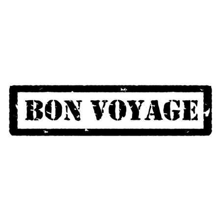 bon: Vector illustration black bon voyage grunge rubber stamp on white