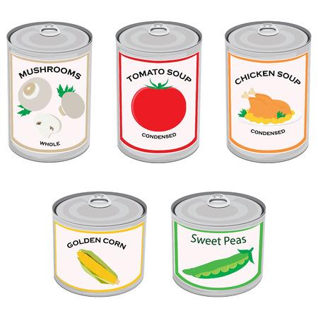 ilustración vectorial Conjunto de los alimentos enlatados, la colección. Sopa de tomate, sopa de pollo, guisantes, maíz dorado y setas. El estaño metálico puede