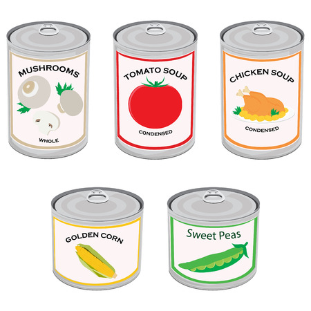 Vector illustration canned food set, collection. Tomato soup, chicken soup, sweet peas, golden corn and mushrooms.  Metal tin can Ilustração