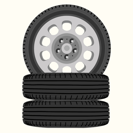 unused: Vector illustration new, shiny winter car wheels. Stack of realistic car wheels