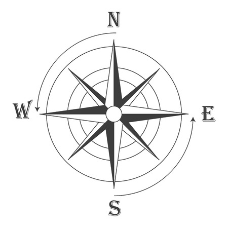 compass rose: Vector illustration black wind rose isolated on white. Compass rose icon
