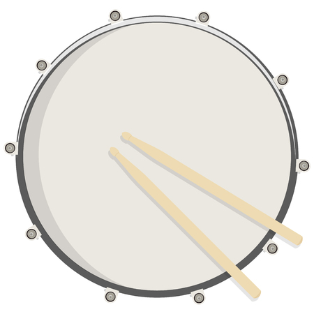 Vector illustration drum and sticks top view. Drum, snare icon, symbol, logo