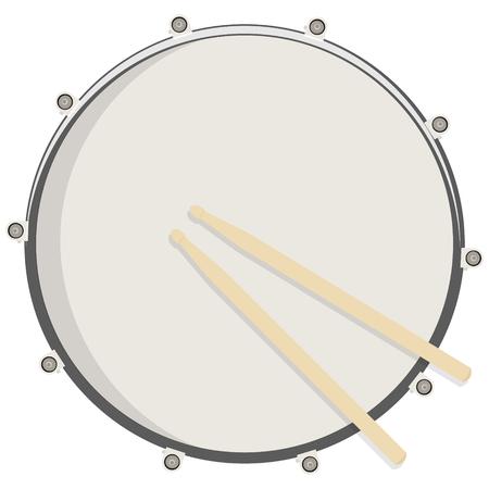 Vektor-Illustration Trommel und Stöcke Draufsicht. Drum, Snare-Symbol, Symbol, Logo Logo