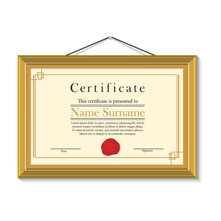 wax stamp: Vector illustration of certificate template with red wax stamp in golden picture frame hanging on the wall. Certificate border. Modern certificate