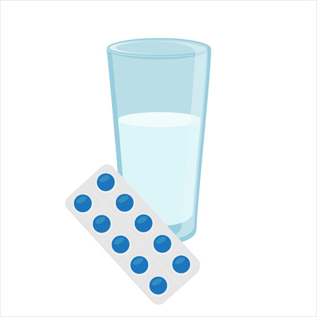 a tablet blister: Vector illustration glass of water and blue pills blister. Tablet strip icon. Round pills in a blister pack Illustration