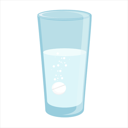 a tablet blister: Vector illustration glass with water and tablet in it. Effervescent pill, tablet