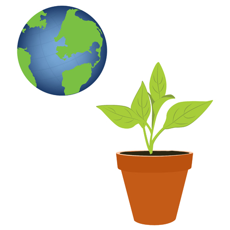 illustation: Vector illustation plant growing in a pot and earth. Green world concept